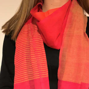 Organic cotton scarf in cherry/tangerine