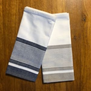 Organic cotton tea towels in blue and beige