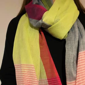 Organic cotton scarf in lime green and cherry