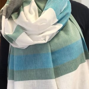 Organic scarf white, blue and marine green