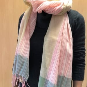 Hand woven scarf pink, gold and aquamarine